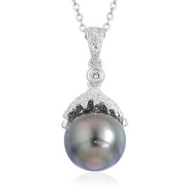 Tahitian Pearl (10-11 mm) and White Topaz Pendant With Chain in Rhodium and Platinum Overlay Sterling Silver