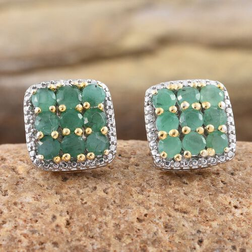 AAA Brazilian Emerald (Rnd) Stud Earrings (with Push Back) in Platinum and Yellow Gold Overlay Sterling Silver 1.750 Ct.
