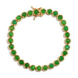 Green Ethiopian Opal (Rnd) Bracelet in 14K Gold Overlay Sterling Silver (Size 8) 10.000 Ct.