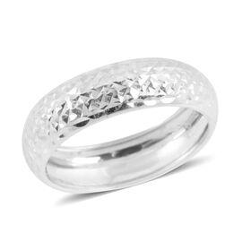 Royal Bali Collection 9K W Gold Diamond Cut Band Ring
