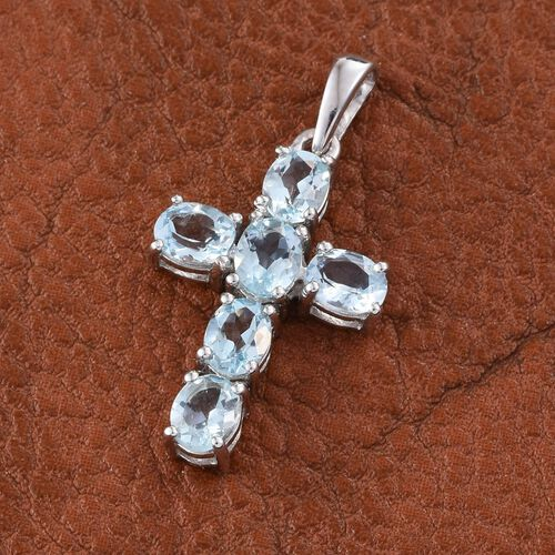 Espirito Santo Aquamarine 1.75 ct. Silver Cross Pendant in Platinum Overlay