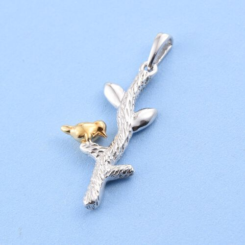 Platinum and Yellow Gold Overlay Sterling Silver Bird on Tree Pendant