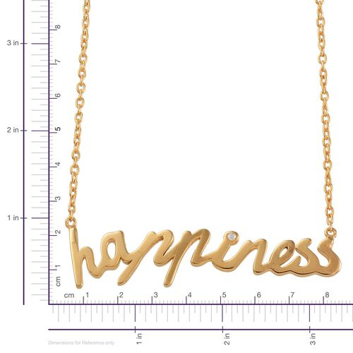 Diamond (Rnd) Happiness Message Necklace (Size 18) in Yellow Gold Overlay Sterling Silver