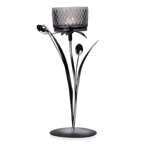 Home Decor - Black Colour Two Flower Bud Candle Holder with Black Glass