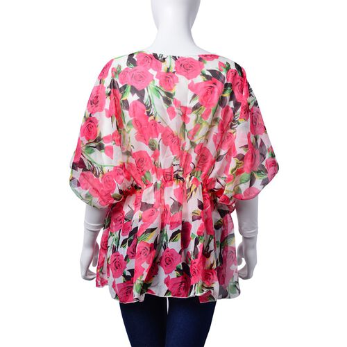 Pink Rose Pattern White Colour Tunic (Free Size)