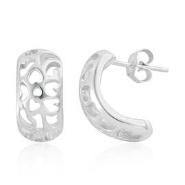 Tribal Collection of India Platinum Overlay Sterling Silver Earrings (with Push Back), Silver wt 3.71 Gms.