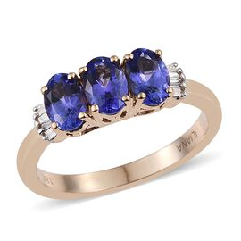 ILIANA 18K Yellow Gold 1.50 Carat AAA Tanzanite Oval Trilogy Ring with Diamond SI G-H.