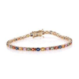 9K Y Gold AA Multi Colour Sapphire (Ovl) Tennis Bracelet (Size 7.5) 10.250 Ct.