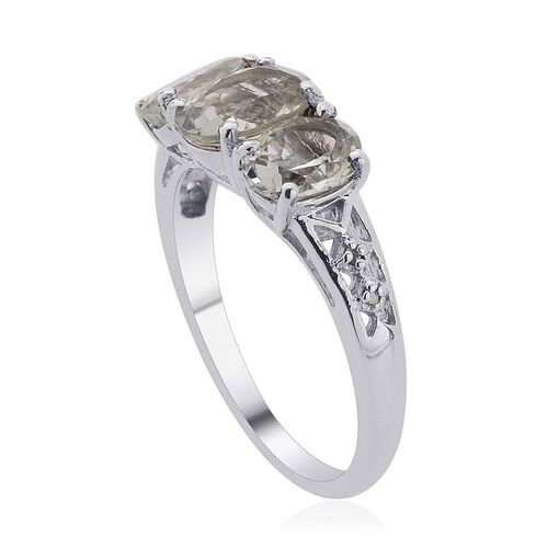 Green Sillimanite (Ovl 1.25 Ct), Diamond Ring in Platinum Overlay Sterling Silver 2.752 Ct.