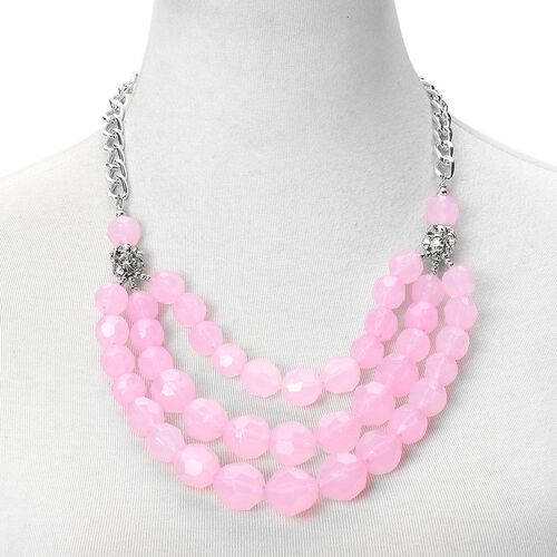Simulated Rose Quartz and White Austrian Crystal Triple Strand Necklace (Size 21 with 2 inch Extender) in Silver Tone