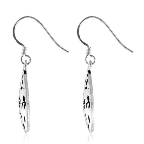 Statement Collection- Sterling Silver Floral and Leaves Hook Earrings.Silver Wt 4.54 Gms