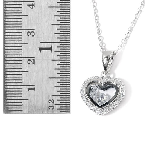 ELANZA AAA Simulated White Diamond Heart Pendant With Chain in Rhodium Plated Sterling Silver