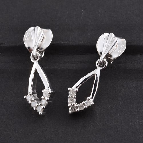 Silver Diamond Earrings (with Push Back) in Platinum Overlay