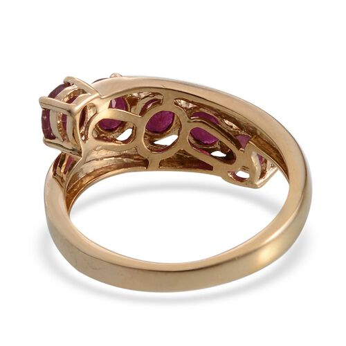 African Ruby (Ovl) 5 Stone Ring in 14K Gold Overlay Sterling Silver 3.000 Ct.
