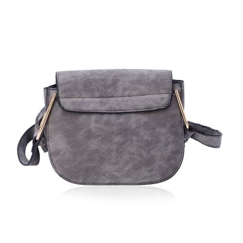 Dark Grey Crossbody Bag with Fringes at the Bottom and Shoulder Strap (Size 19x15.5x10 Cm)