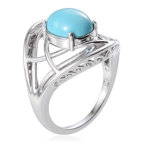 Arizona Sleeping Beauty Turquoise (Ovl) Solitaire Ring in Platinum Overlay Sterling Silver 2.250 Ct.