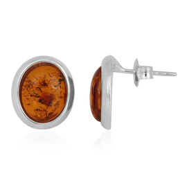 Baltic Amber (Ovl) Earrings in Sterling Silver