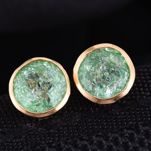 Emerald Green Crackled Quartz (Rnd) Stud Earrings (with Push Back) in 14K Gold Overlay Sterling Silver 3.750 Ct.