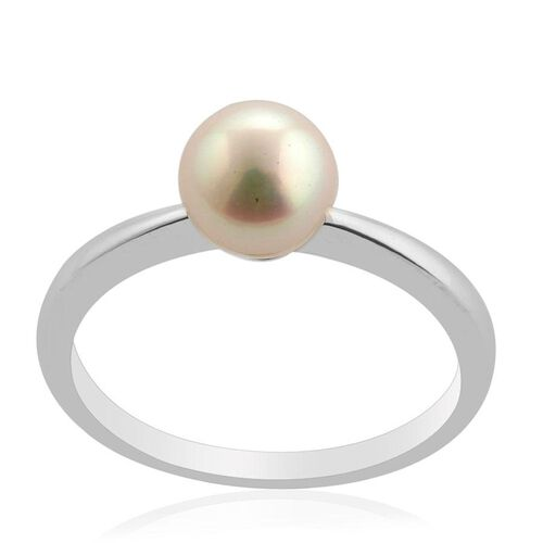 Japanese Akoya Pearl (Rnd) Ring in Platinum Overlay Sterling Silver