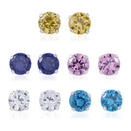 Set of 5- ELANZA AAA Simulated White Diamond (Rnd), Simulated Tanzanite, Simulated Pink Sapphire, Simulated Citrine and Simulated Aquamarine Stud Earrings (with Push Back) in Sterling Silver