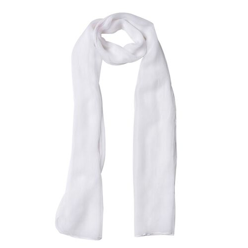 100% Mulberry Silk White Colour Scarf (Size 170X60 Cm)