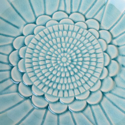 Blue Colour Twin Birds Standing Flower Shape Ceramic Fruit Plate (Size 25.5x8 Cm)