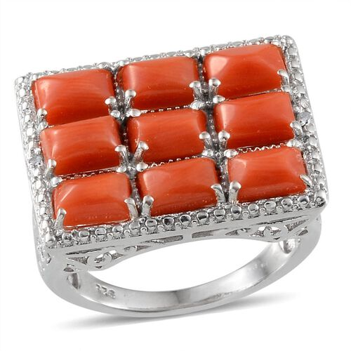 Natural Mediterranean Coral (Bgt), Diamond Ring in Platinum Overlay Sterling Silver 4.770 Ct.
