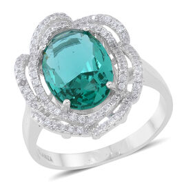 Signature Collection- ELANZA AAA Simulated Paraiba Tourmaline (Ovl), Simulated White Diamond Ring in Rhodium Plated Sterling Silver