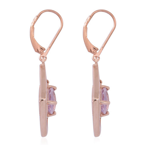 Rose De France Amethyst (Trl) Lever Back Earrings in 14K Rose Gold Overlay Sterling Silver 3.000 Ct.
