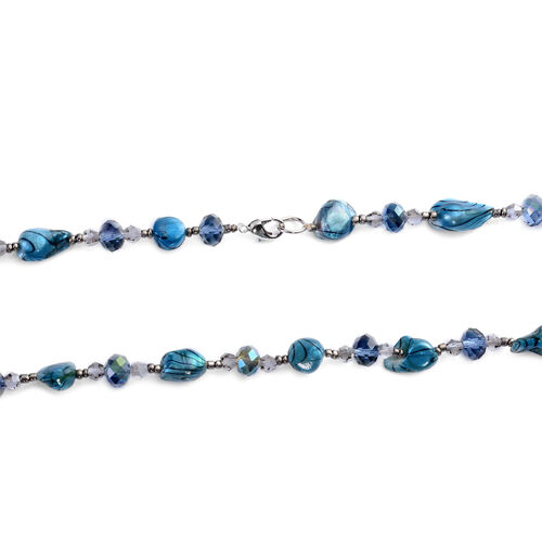 Blue Shell Pearl, White and Blue Glass Necklace (Size 46)