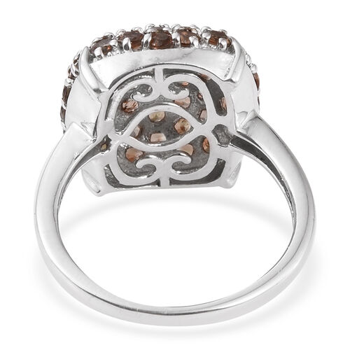 Jenipapo Andalusite (Rnd) Cluster Ring in Platinum Overlay Sterling Silver 2.750 Ct.