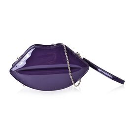 Mysterious Purple Lip Design Crossbody Bag with Chain Strap (Size 24.5x13.5x7 Cm)