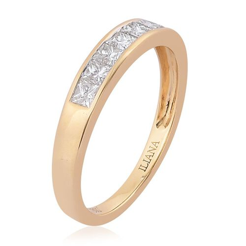 ILIANA 18K Y Gold IGI Certified Diamond (Sqr) (SI/G-H) 7 Stone Band Ring 0.500 Ct.