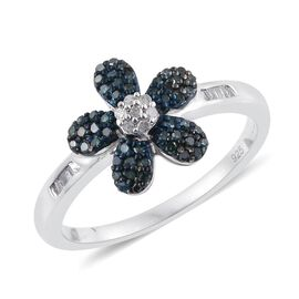 Blue Diamond (Rnd), White Diamond Floral Ring in Platinum Overlay Sterling Silver 0.330 Ct.