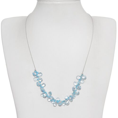 Jewels of India Sky Blue Topaz (Pear), Arizona Sleeping Beauty Turquoise Necklace (Size 20) in Platinum Overlay Sterling Silver 48.410 Ct.