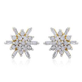 9K Y Gold SGL Certified Diamond (Rnd) (I3/G-H) Starburst Stud Earrings (with Push Back) 0.250 Ct.