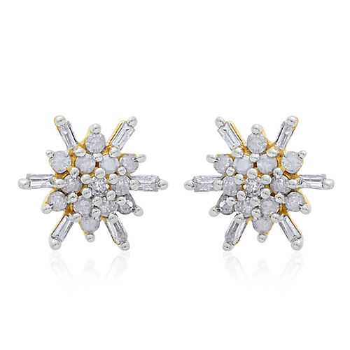 9K Y Gold SGL Certified Diamond (Rnd) (I3/G-H) Starburst Stud Earrings (with Push Back) 0.250 Ct.