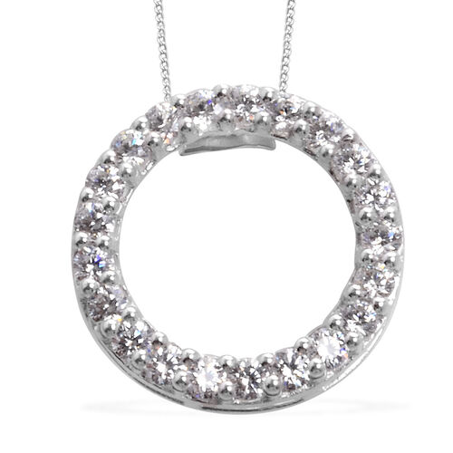 J Francis- Platinum Overlay Sterling Silver Pendant With Chain Made with SWAROVSKI ZIRCONIA  2.330  Ct.