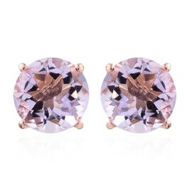 One Time Deal-Rose De France Amethyst (Rnd) Stud Earrings (with Push Back) in Rose Gold Overlay Sterling Silver 5.000 Ct.
