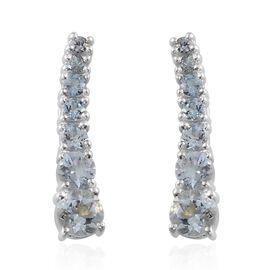 Espirito Santo Aquamarine (Rnd) Climber Earrings in Platinum Overlay Sterling Silver 1.750 Ct.