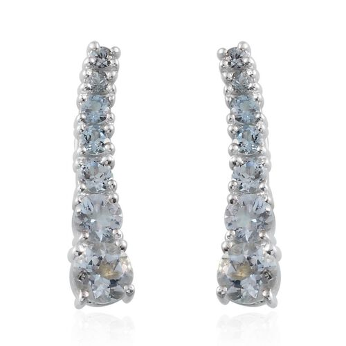 Espirito Santo Aquamarine (Rnd) Climber Earrings in Platinum Overlay Sterling Silver 1.750 Ct.