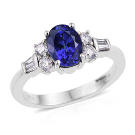 RHAPSODY 950 Platinum 2 Carat AAAA Tanzanite Oval, Diamond VS E-F Ring.