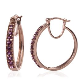 Rare Mozambique Grape Colour Garnet (Rnd) Hoop Earrings (with Clasp) in Rose Gold Overlay Sterling Silver 1.750 Ct.