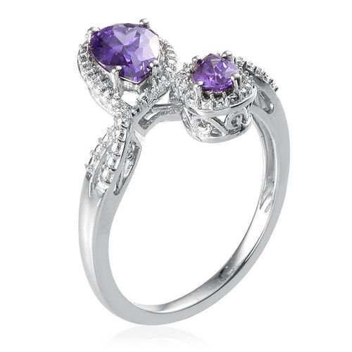 ELANZA AAA Simulated Tanzanite (Pear), Simulated Diamond Crossover Ring in Platinum Overlay Sterling Silver