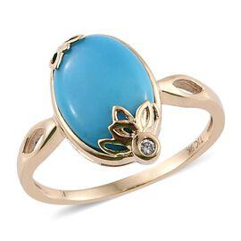 Kimberley 9K Y Gold Arizona Sleeping Beauty Turquoise (Ovl), Diamond Ring 5.030 Ct.