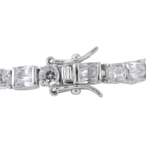 ELANZA AAA Simulated White Diamond Bracelet (Size 7) in Rhodium Plated Sterling Silver