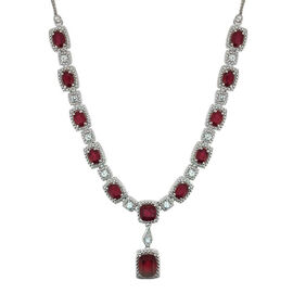 African Ruby (Cush 4.50 Ct), White Topaz Necklace (Size 20) in Rhodium Plated Sterling Silver 21.010 Ct.
