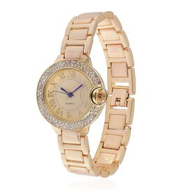 GENOA Japanese Movement Golden Dial with White Austrian Crystal Water Resistant Watch in Gold Tone with Stainless Steel Back and Chain Strap