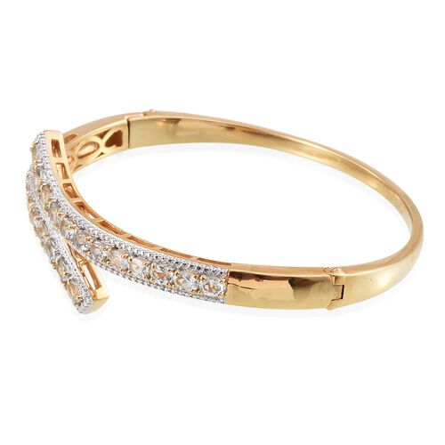 Espirito Santo Aquamarine (Ovl) Bangle (Size 7.5) in ION Plated 18K Yellow Gold Bond 3.250 Ct.