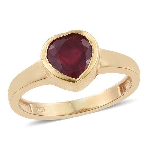 1.50 Carat African Ruby Heart Solitaire Silver Ring in 14K Gold Overlay.